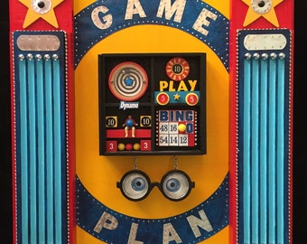 GAME PLAN   Recycled Mixed Media Wooden Art Assemblage