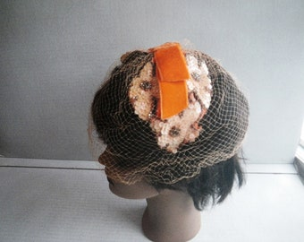 1960s Profile Capulet Hat with Orange Velvet Bow, Sequins & Beading - Wire Frame Headband