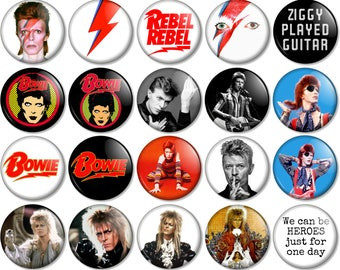 "David Bowie 25mm / 1"" (1 inch) Pin Button Badge - Various designs Ziggy Stardust Music We Could Be Heroes Starman Labyrinth Aladdin Sane"