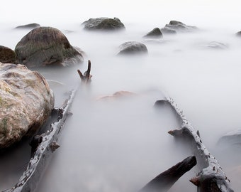 Nautical fine art photography of water, fog, and rocks. Seascape print of old pier rails. Zen mediation room. Lake house gift for doctor.