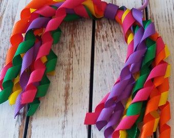 Rainbow Korker Bow, Korker Hair Bow, Korker Ponytail Hair Bow