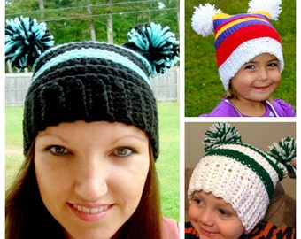 PATTERN CROCHET Spunky Pom Pom Hat Newborn-Adult