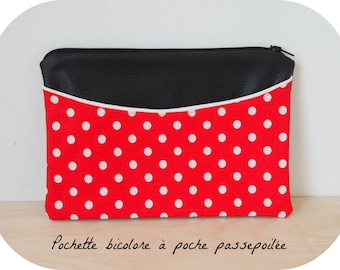 Pocket flat multi-purpose leatherette ebony and cotton red with polka dots