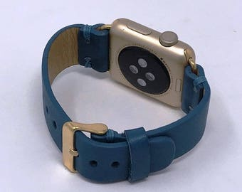 Leather Apple iWatch 38 mm - 42 mm Band | Series 1 / 2 / 3 iWatch Strap / Band Blue