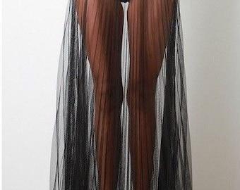 Adult Tulle crinkle sheer - see through -  Skirt Floor Length