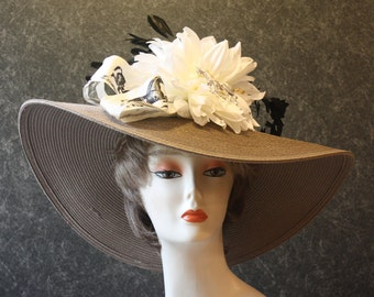 Taupe Kentucky Derby Hat, Derby Hat, Garden Party Hat, Tea Party Hat, Easter Hat, Church Hat, Wedding Hat, Downton Abbey Taupe Hat 078