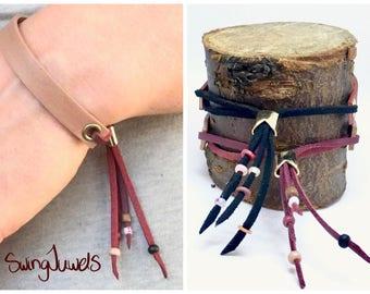 Boho bracelet Leather Red Beige