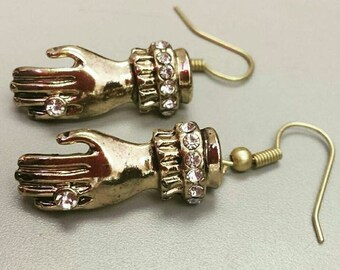 gold hand earrings,chopped off hands, hand earrings, hands, creepy jewelry, halloween jewelry, halloween earrings, hand jewelry, gold hands