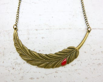 Large Bird feather Blood drop Necklace Hand Painted red Charm vintage Necklace Jewelry Bronze Jewelry