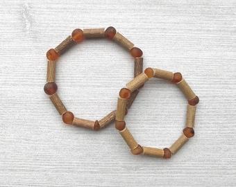 Child size Baltic Amber and Hazelwood natural bead bracelet