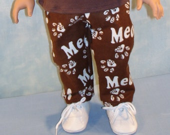 18 Inch Doll Clothes - Brown Meow  Flannel Pants handmade by Jane Ellen to fit 18 inch dolls