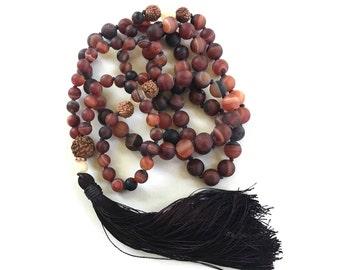 Dream Agate Mala, 108 Mala Beads, Rudraksha And Jade Mala, Knotted Mala, Healing Yoga Jewelry, Mala Beads