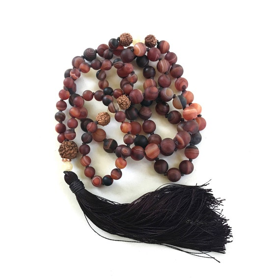 Dream Agate Mala, 108 Mala Beads, Rudraksha And Jade Mala, Knotted Mala, Healing Yoga Jewelry, Mala Beads