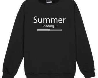 Summer Loading Sweater Jumper Funny Fun Tumblr Hipster Swag Grunge Kale Goth Punk Retro Vtg Pastel Pink Top Tee Crop Womens Fresh Festival
