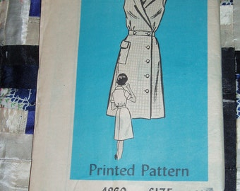 Vintage 1960s Mail Order Designer Pattern 4860 for Misses Dress Sizes 14 1/2, Factory Folds
