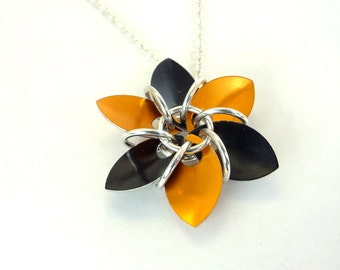 Orange And Black Gothic Flower Necklace