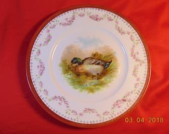 "One (1), 9 5/8"" Diameter, Porcelain, Cabinet Plate, Showing a Mallard Duck. Austria."