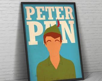 Peter Pan Print, Peter Pan Poster, Peter Pan Minimalist Print, Peter Pan Art, Peter Pan Gift, Disney Print, Neverland, Tinkerbell