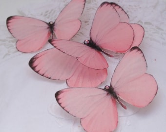 Hand Cut silk butterfly hair clips - Rosy Pinks Trio