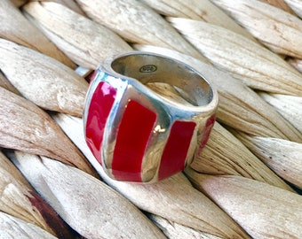 Wide Sterling Silver with Coral Red Ceramic Ring