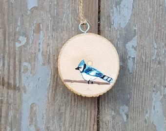 Blue Jay, Bird Ornament, Bird Painting, Wood Slice Ornament, Blue Jay Painting, Blue Bird, Blue Bird Ornament
