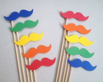 10 Primary Rainbow Mustache Photo Booth Props - Wedding Photo Booth - Candy Party - Color Mustaches - Mustache Party - Birthday Photobooth