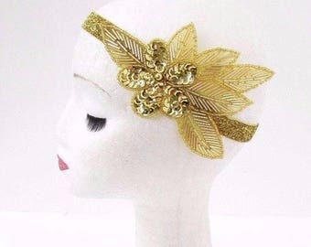 Gold Sequin Beaded Headband Headpiece Vintage 1920s Great Gatsby Flapper 3062