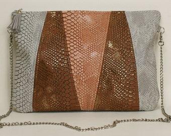 "BAG crocodile bag faux leather tricolor model ""ADARA"""