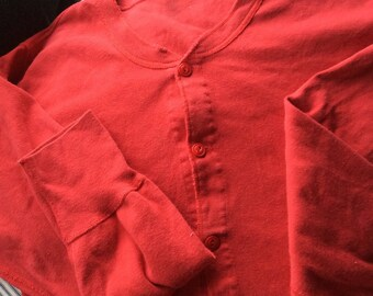 VINTAGE LONG JOHNS , unionsuit, red adult onsie, button drawer, winter underwear, unisex pajamas