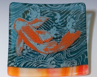 Koi Fused Glass Catch-all Dish