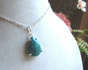 18x13mm Pear Shaped Turquoise Cabochon Pendant in Sterling Silver
