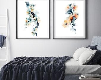 Botanical art print set, blue blossoms botanical art print, set of 2 fine art prints, floral watercolor painting art, floral wall art set