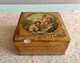 Florentine Trinket Box Gold Gilt Jewelry Box Cherub Rococo Wooden Box