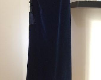 Vintage royal blue velvet maxi skirt