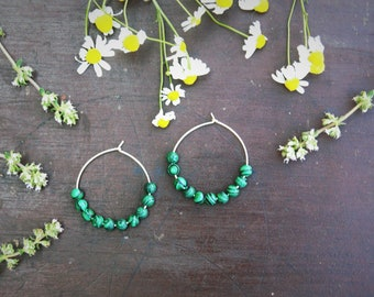 Malachite Seed bead earrings Big earrings Malachite beads Silver hoop earrings Green earrings Boho jewelry Stone earrings Malachite beads