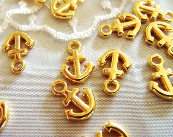 15% OFF SALE Gold Plated Anchor Charm Pendant 12x9mm-4 pcs