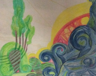 "Colored Pencil Drawing ""Bride of Creation"" - Original Artwork"