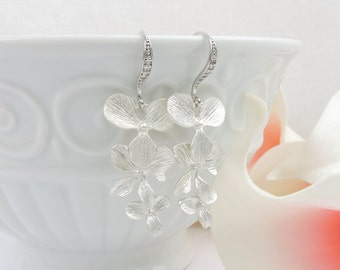 FREE US Ship Matte Silver Orchid And Cubic Zirconia Bridal Earrings CZ Cascading Orchid Bridal Earrings Orchid Bridesmaid Earrings