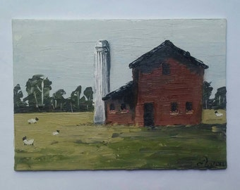 "Original 5"" × 7"" Landscape Oil Painting: ""Silo"""