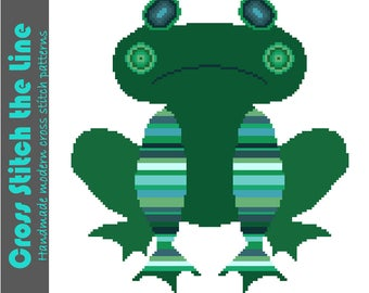 Fun cross stitch pattern. Contemporary design. Modern embroidery chart. 'You have to kiss many frogs...'