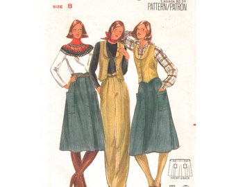 70s Vintage Pattern Vest Skirt & Pants Butterick 5596 Lined Fitted Waistcoat Buttoned Skirt Trousers Womens Sewing Pattern Size 8 UNCUT