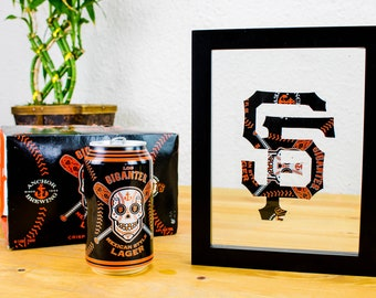 San Francisco Giants MLB Logo Cut from Los Gigantes Anchor Steam Can- Handmade SF Giants Collectible for your wall, bar, or mancave!