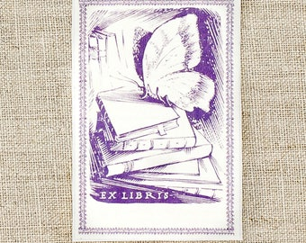 lavender butterfly bookplates - bookplate stickers - custom book plates - ex libris - personalized gift- bookworm for her - book plates
