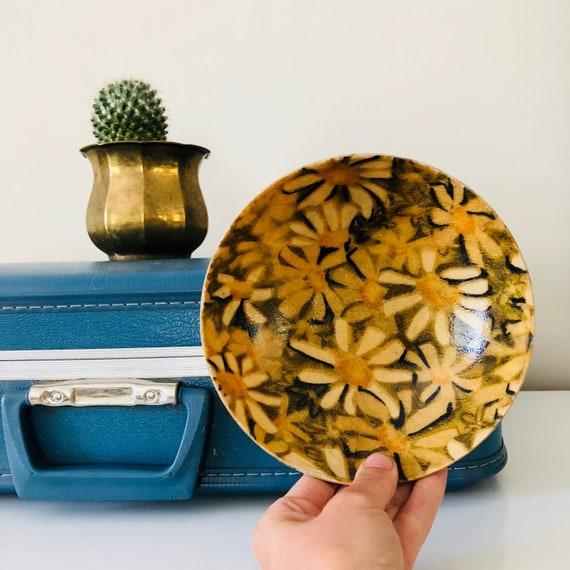 Vintage Floral Fiberglass Bowl Small Yellow Green Daisy Mid Century Modern Salad Bowl 1960s Retro Bowl