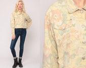 Floral Denim Jacket 90s Jean Jacket Pastel Yellow Jacket Vintage Grunge Jacket Button Up 1990s Indie Hipster Large