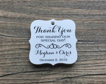 "20 Personalized Wedding Tags, 1.75"", Favor Tags, Thank You Tags, Gift Tags - Weddings, Showers, Engagement"