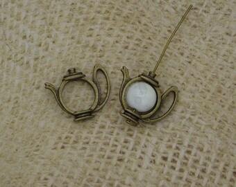 5 bronze 18mm metal teapot bead frames