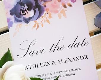 Navy Blue Blush Pink Save The Date,Wedding invitation,Printable Editable Invitation Template,Romantic Save The Date Template,InstantDownload