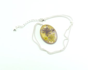 Dried Flower Oval Cabachon Style Pendant