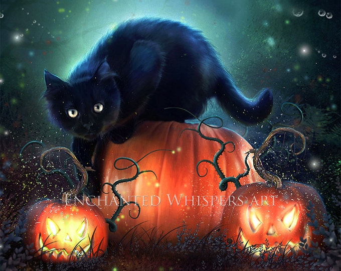 Halloween black cat art print by Enchanted Whispers